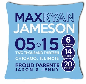 birth announcement new baby pillow with circles (boy)