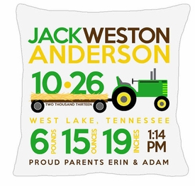 birth announcement new baby tractor pillow