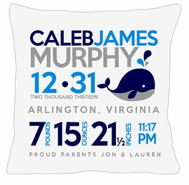 birth announcement new baby whale pillow
