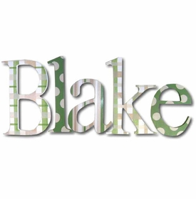 """blakes green patterned 8"""" wooden wall letters"""
