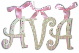 """blossoms, stripes and dots 8"""" wooden hanging letters"""