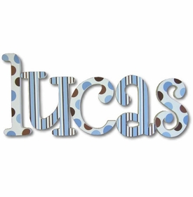 """blue and chocolate whimsical 8"""" wooden hanging letters"""