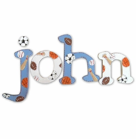 """blue and white sports 8"""" hand painted wooden letters"""