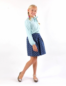 blue green party skirt