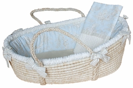 blue toile moses basket - unavailable