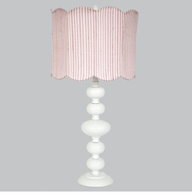 bola lamp with pink/white striped drum shade