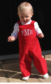 boy's red corduroy romper