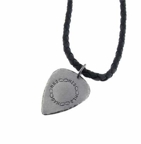 braided leather guitar pick necklace