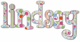 """bright and cheerful! 8"""" wooden hanging letters"""
