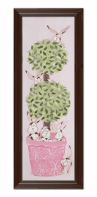 bunny topiary wall art - brown frame