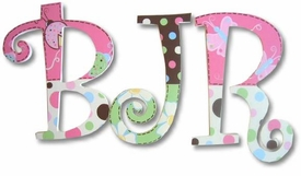 """butterflies and ladybugs 8"""" wooden hanging letters"""