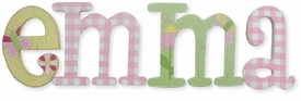 """butterflies gingham and flowers 8"""" whimsical style letters"""