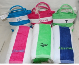 cabana stripe plush terry personalized towel