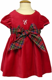 cap sleeve red cotton velveteen dress with plaid ribbon