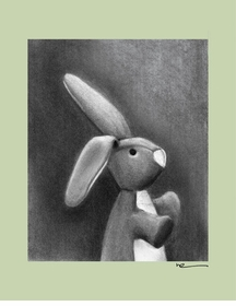 charcoal bunny - sage border - wall art canvas reproduction by margot curran