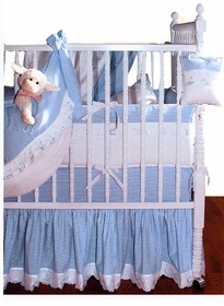 checker embroidered crib bedding by blauen