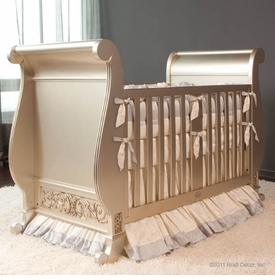 chelsea sleigh crib antique (silver)