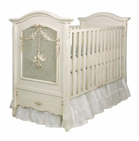 cherubini crib with appliqued moulding and caning