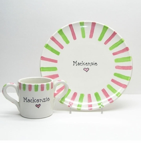 child's pink dish set