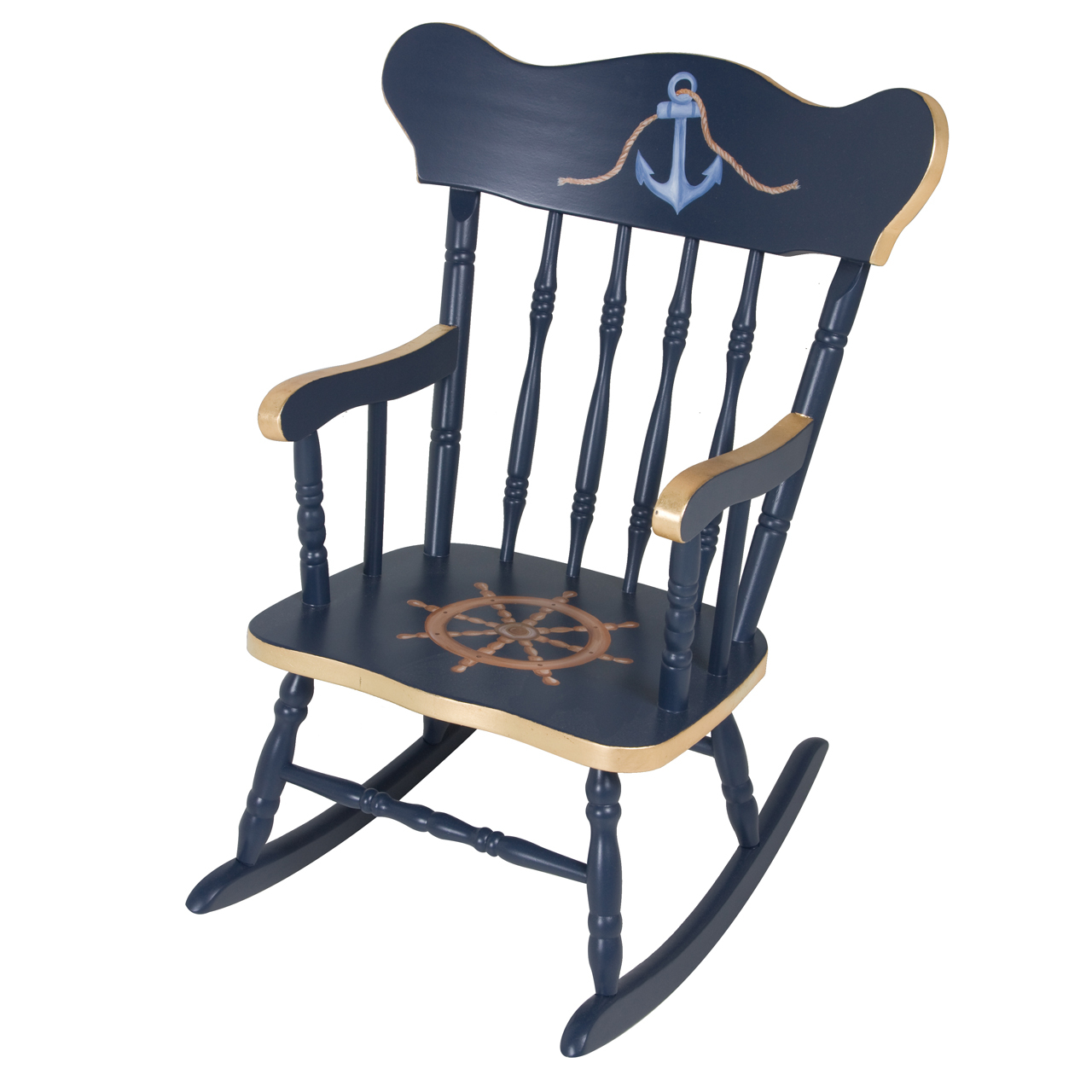 Childs Rocking Chair Navy And Gold Gilding