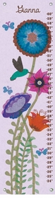 children's growth chart - hummingbird garden
