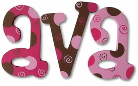 """choco berry dots and swirls 8"""" wooden hanging letters"""