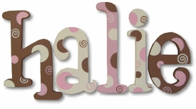 """chocolate strawberry torte whimsical 8"""" wooden hanging letters"""