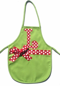 christmas initial apron - lime with red large dots