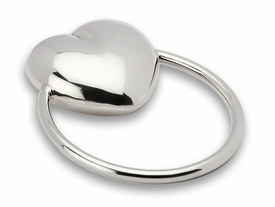 circular heart sterling silver baby rattle