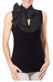 classic black removable tie front sleeveless shirt