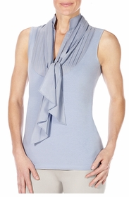 slate removable tie front sleeveless shirt