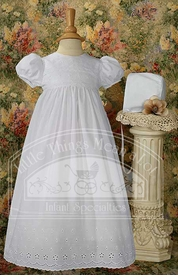cotton christening gown with lace border