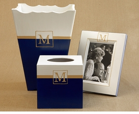 custom painted frame, waste basket, tissue box set  - classic single monogram