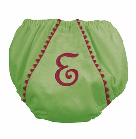 diaper cover - green with pink  pique