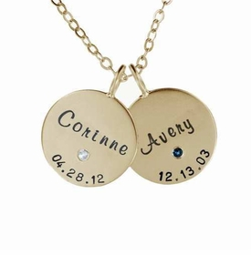 double 14k gold family charm necklace