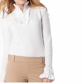 ruffle white long sleeved shirt