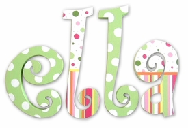 """ella's stripes and polka dots 8"""" wooden hanging letters"""