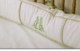 embroidered bunny crib bedding - green by art for kids