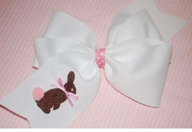 embroidered chocolate bunny bow