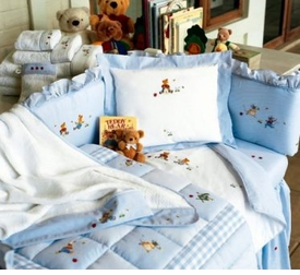 embroidered crib bedding