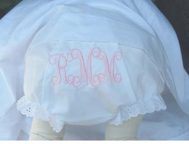 embroidered diaper cover - interlocking formal monogram