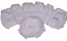 embroidered diaper covers - days of the week