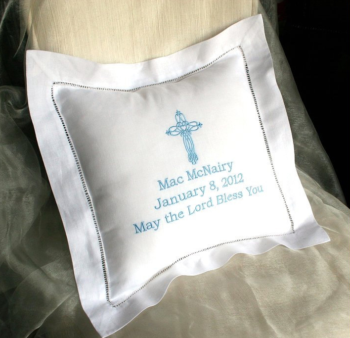 Embroidered Linen Christening Pillow Unavailable