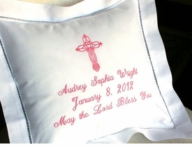 embroidered linen christening pillow - unavailable