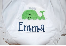 embroidered name monogram whale diaper cover