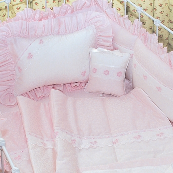 embroidered orchidee and primel crib bedding