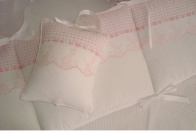 embroidered pink giraffe crib bedding