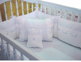 embroidered sailboats crib bedding by blauen