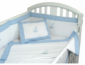 embroidered sailing seas crib linens