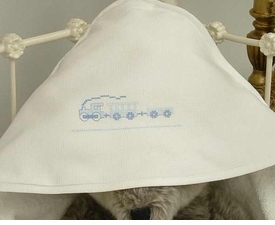 embroidered train hooded towel by sweet william